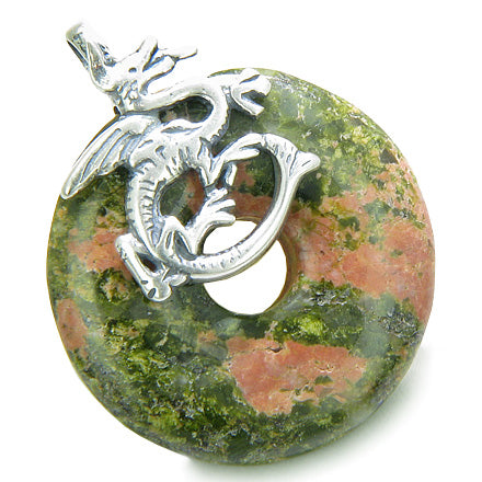 Dragon Spiritual Protection Magic Amulet Lucky Donut Unakite Gemstone Sterling Silver Pendant