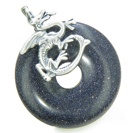 Dragon Good Luck Magic Amulet Lucky Donut Blue Goldstone Gemstone Sterling Silver Pendant