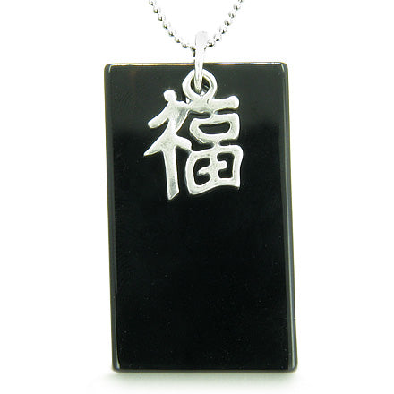 Amulet Good Luck and Fortune 925 Silver Spiritual Powers Black Onyx Gemstone Tag Pendant Necklace