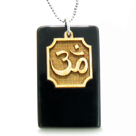 Amulet OM Wooden Charm and 925 Silver Spiritual Powers Black Onyx Gemstone Tag Pendant Necklace