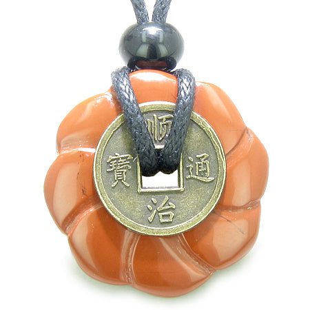 Antique Lucky Coin Celtic Lotus Flower Amulet Believe Powers Red Jasper 30mm Donut Pendant Necklace