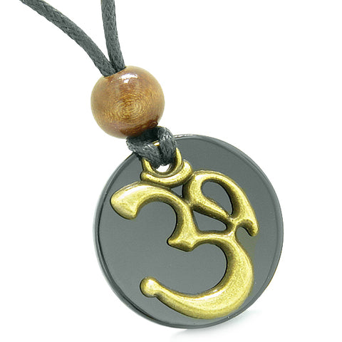 Ancient OM Tibetan Amulets Love Couples Yin Yang Powers Black Agate Green Quartz Necklaces