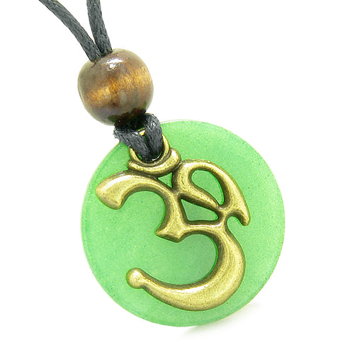 Ancient OM Tibetan Amulet Magic Powers Green Quartz Coin Medallion Pendant Necklace