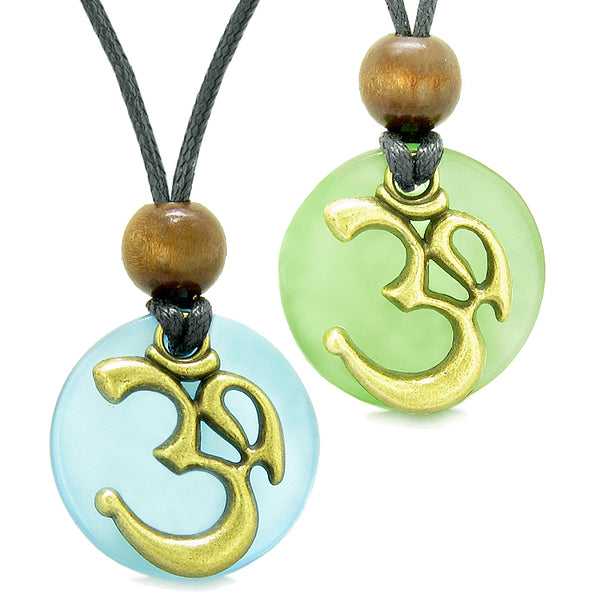 Ancient OM Tibetan Amulets Love Couples Yin Yang Powers Green Sky Blue Simulated Cats Eye Necklaces