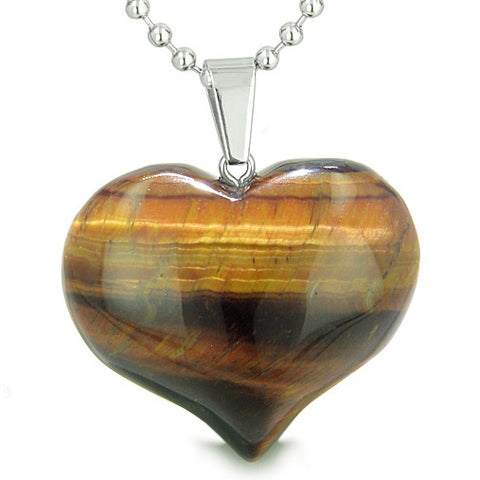 Amulet Large Puffy Heart Lucky Charm in Red Tiger Eye Gemstone Healing Powers Pendant Necklace