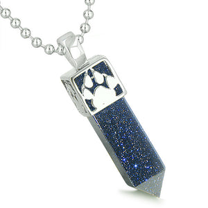 Amulet Howling Wolf Wild Moon Spiritual Powers Blue Goldstone Pendant 22 Inch Necklace