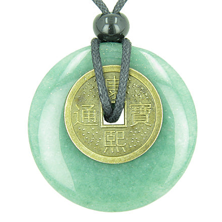 Antique Lucky Coin Money Powers Amulet Green Aventurine Gemstone 40mm Donut Pendant Necklace