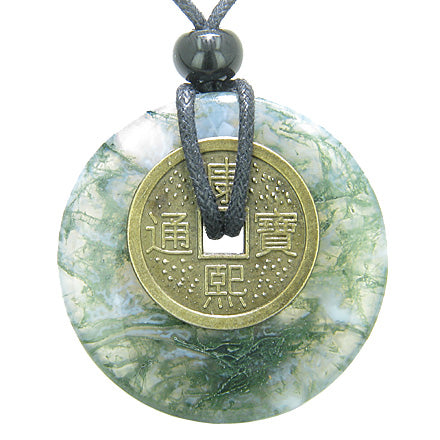 Antique Lucky Coin Good Luck Powers Amulet Green Moss Agate Gemstone 40mm Donut Pendant Necklace
