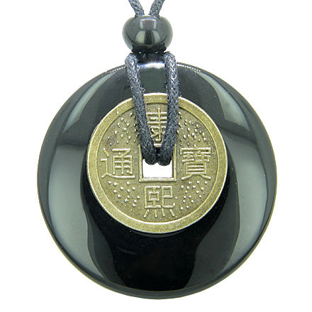 Antique Lucky Coin Spiritual Powers Amulet Black Onyx Gemstone 40mm Donut Pendant Necklace