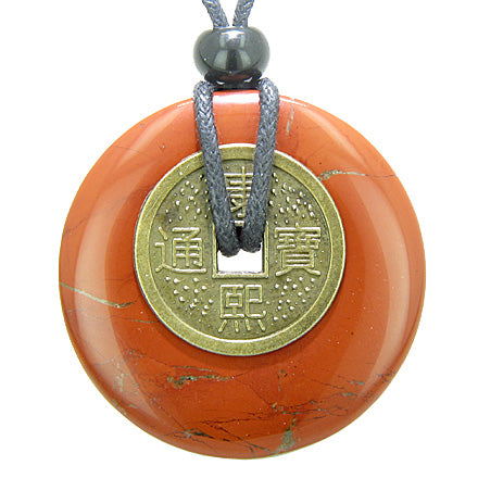 Antique Lucky Coin Believe Powers Amulet Red Jasper Gemstone 40mm Donut Pendant Necklace