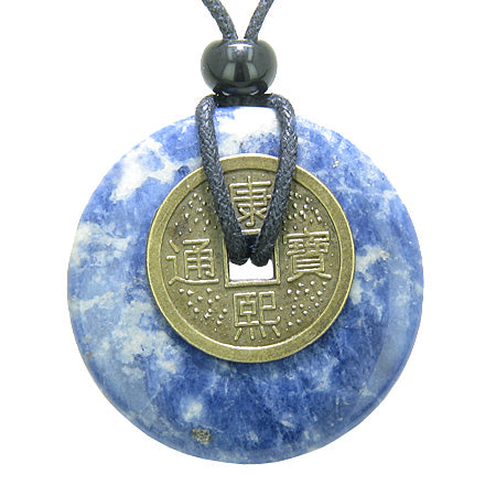 Antique Lucky Coin Good Luck Powers Amulet Sodalite Gemstone 40mm Donut Pendant Necklace