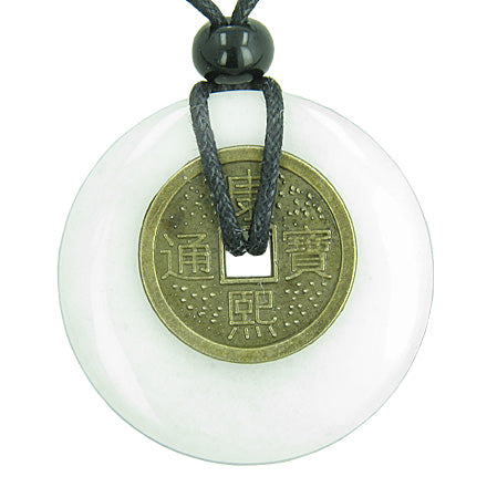 Antique Lucky Coin Evil Eye Protection Powers Amulet Jade Gemstone 40mm Donut Pendant Necklace