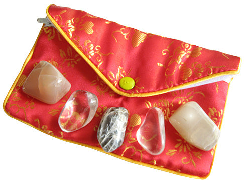 Travel By Water Talisman Pouch In Moonstone And Crystals