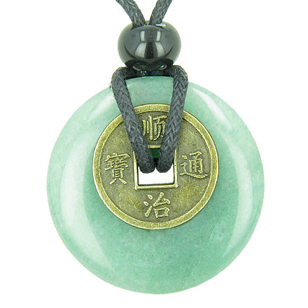 Antique Lucky Coin Money Powers Amulet Green Aventurine Gemstone 30mm Donut Pendant Necklace