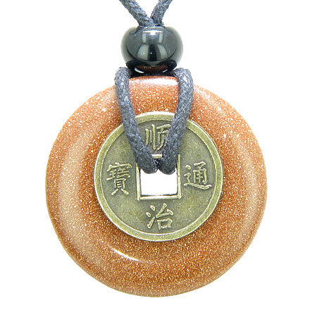 Antique Lucky Coin Good Luck Powers Amulet Goldstone Gemstone 30mm Donut Pendant Necklace