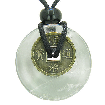 Antique Lucky Coin Evil Eye Protection Powers Amulet Crystal Quartz 30mm Donut Pendant Necklace