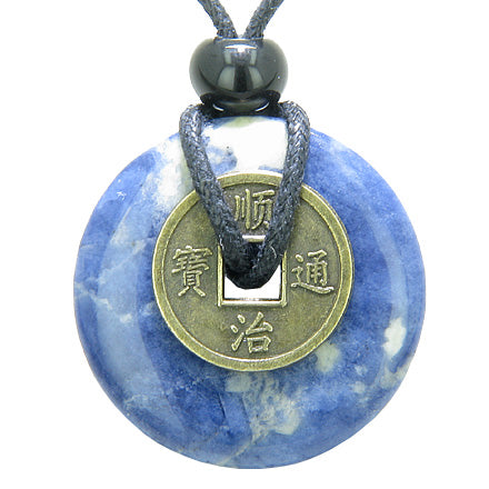 Antique Lucky Coin Good Luck Powers Amulet Sodalite Gemstone 30mm Donut Pendant Necklace