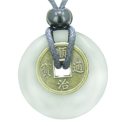 Antique Lucky Coin Evil Eye Protection Powers Amulet White Jade 30mm Donut Pendant Necklace