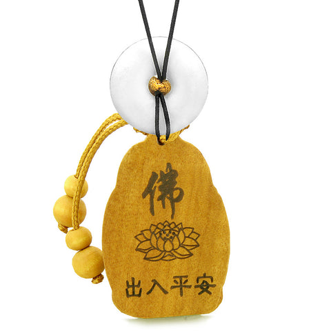 Blooming Lotus Kwan Yin Quan Car Charm or Home Decor White Quartz Lucky Donut Protection Amulet