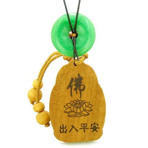 Blooming Lotus Kwan Yin Quan Car Charm Home Decor Green Quartz Lucky Coin Donut Protection Amulet