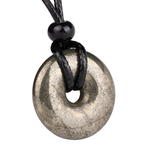 Amulet Golden Pyrite Iron Lucky Coin Shaped Donut Protection Magic Power Pendant Necklace