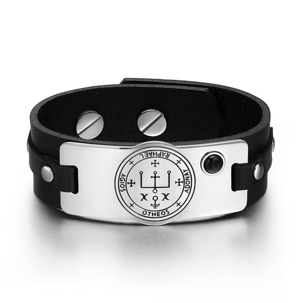 Archangel Raphael Sigil Magic Powers Amulet Tag Simulated Black Onyx Black Leather Bracelet