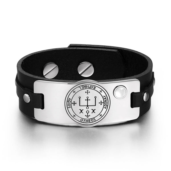 Archangel Raphael Sigil Magic Power Amulet Tag White Simulated Cats Eye Black Leather Bracelet