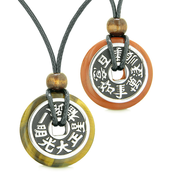 Amulets Large Reversible Fortune Coins Love Couples Yin Yang Powers Tiger Eye Red Jasper Necklaces