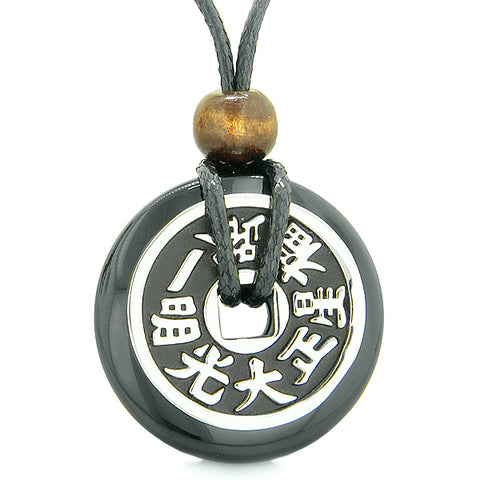 Large Double Lucky Reversible Fortune Coin Donut Black Agate Feng Shui Powers Pendant Necklace