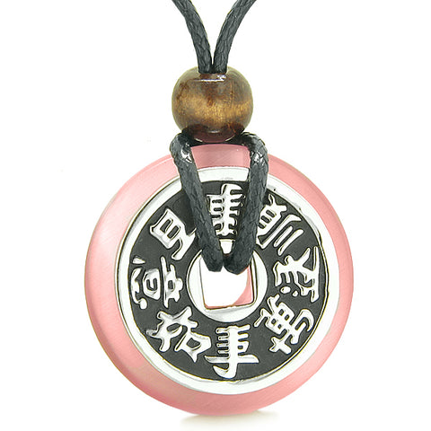 Large Double Lucky Reversible Fortune Coin Donut Pink Cats Eye Feng Shui Powers Pendant Necklace