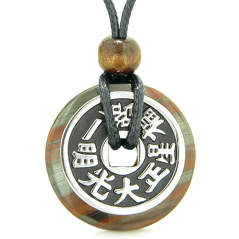 Large Double Lucky Reversible Fortune Coin Donut Dragon Eye Hematite Iron Feng Shui Powers Necklace