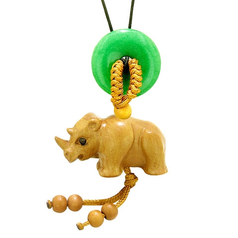 Baby Rhino Cute Good Luck Car Charm or Home Decor Green Quartz Lucky Coin Donut Protection Magic Amulet