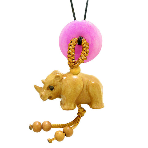Baby Rhino Cute Good Luck Car Charm or Home Decor Hot Pink Quartz Lucky Coin Donut Protection Amulet