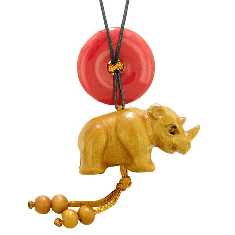 Baby Rhino Cute Good Luck Car Charm or Home Decor Red Quartz Lucky Coin Donut Protection Magic Amulet