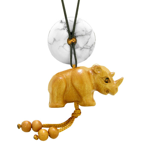 Baby Rhino Cute Good Luck Car Charm or Home Decor White Howlite Lucky Coin Donut Protection Magic Amulet