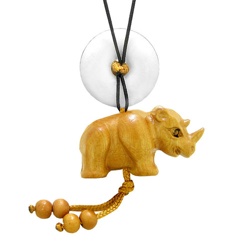 Baby Rhino Cute Good Luck Car Charm or Home Decor White Quartz Lucky Coin Donut Protection Magic Amulet