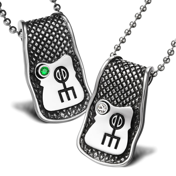 Unique Rune Norse Love Powers Couples or Best Friends Magic Amulets Set Green White Crystals Necklaces