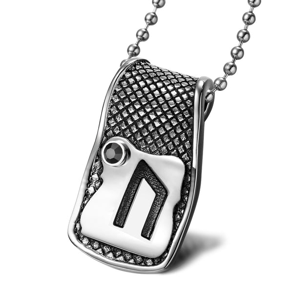 Unique Rune Uruz Strength Powers Ancient Amulet Royal Black Crystal Runic Tag Pendant 18 inch Necklace
