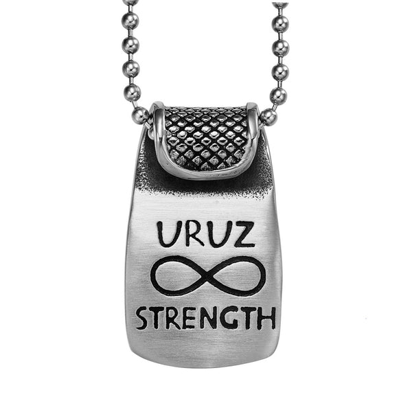Unique Rune Uruz Strength Powers Ancient Amulet Royal Green Crystal Runic Tag Pendant 22 inch Necklace