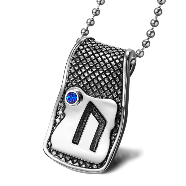 Unique Rune Uruz Strength Powers Ancient Amulet Royal Blue Crystal Runic Tag Pendant 22 inch Necklace