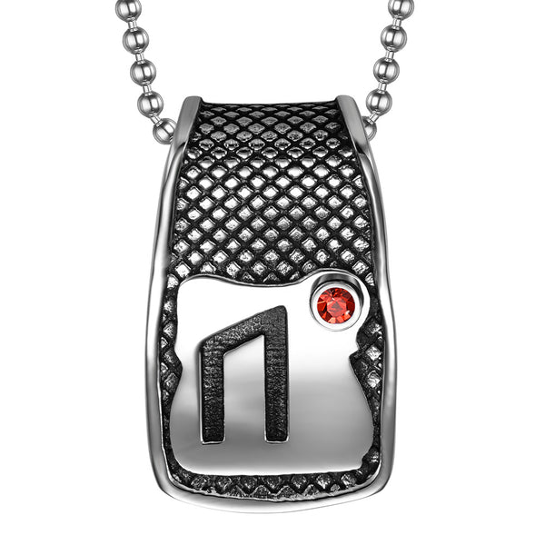 Unique Rune Uruz Strength Powers Ancient Amulet Royal Red Crystal Runic Tag Pendant 18 inch Necklace