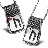 Unique Rune Uruz Strength Powers Love Couples or Best Friends Amulets Set Red White Crystals Necklaces