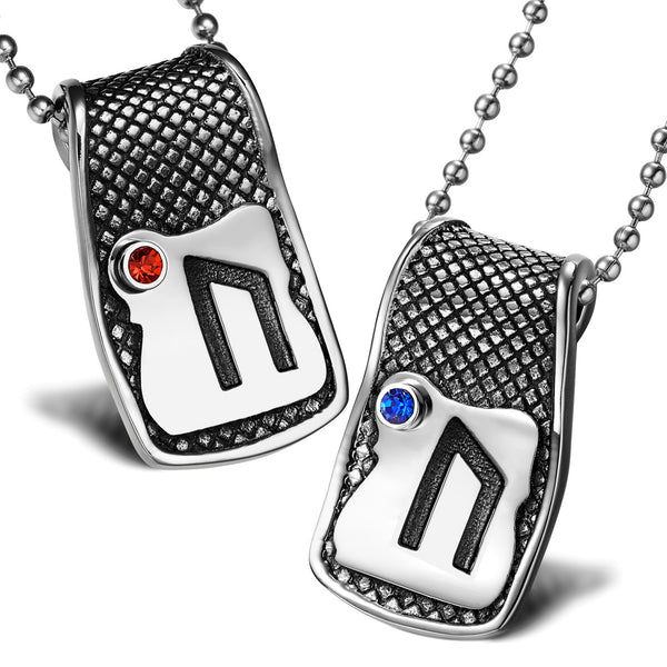 Unique Rune Uruz Strength Powers Love Couples or Best Friends Amulets Set Blue Red Crystals Necklaces