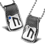 Unique Rune Uruz Strength Powers Love Couples or Best Friends Amulets Set Blue White Crystals Necklaces