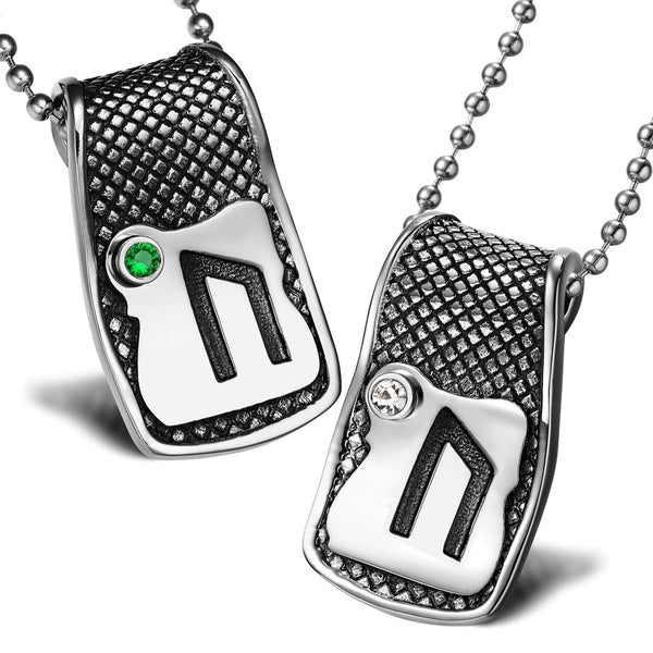 Unique Rune Uruz Strength Powers Love Couples or Best Friends Amulets Set Green White Crystals Necklaces