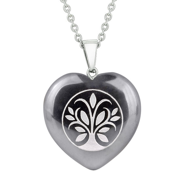 Amulet Tree of Life Magical Powers Protection Energy Hematite Puffy Heart Pendant 18 Inch Necklace