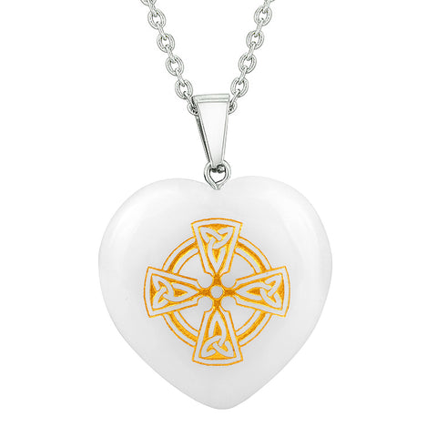 Heart Amulets Viking Celtic Cross Circle Love Couples Best Friends Set Agate White Quartz Necklaces