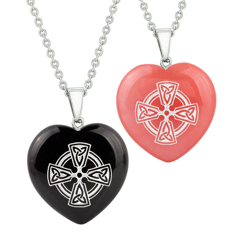 Heart Amulets Viking Celtic Cross Circle Love Couples Best Friends Agate Simulated Quartz Necklaces