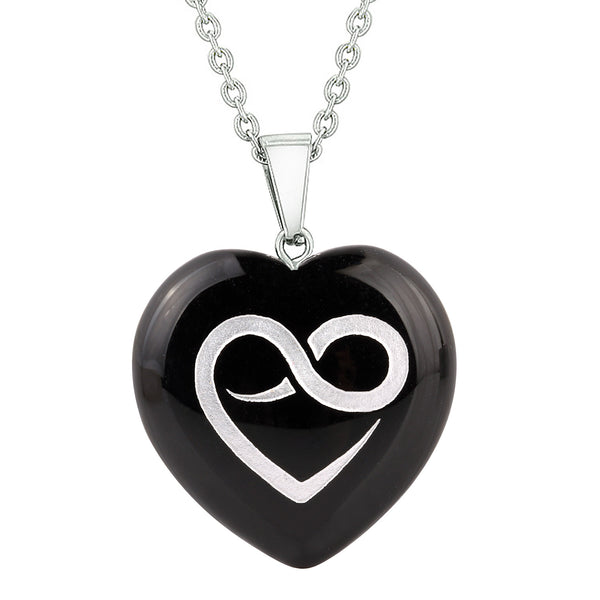 Heart Amulets Infinity Eternity Love Powers Couples Best Friends Agate Simulated Quartz Necklaces