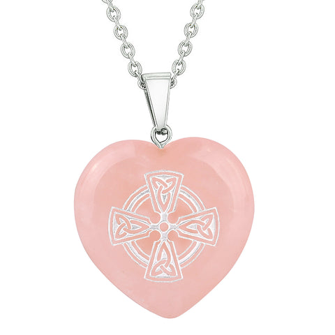 Amulet Viking Celtic Cross Circle Powers Protect Energy Rose Quartz Puffy Heart Pendant Necklace